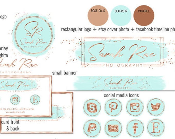 AQUA & ROSE GOLD Modern Branding Kit Watercolor Brush Strokes Etsy Shop Set Cover Photo Banner Logo Business Card Social Media Icons Sticker