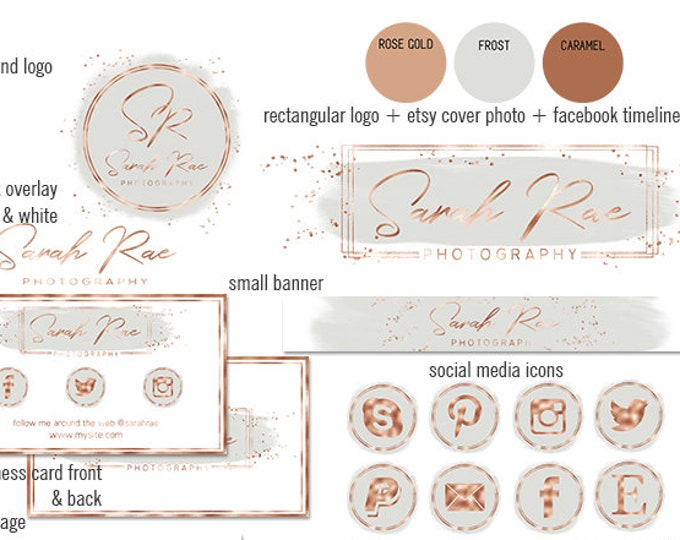 GRAY & ROSE GOLD Modern Branding Kit Watercolor Paint Strokes Etsy Shop Set Cover Photo Banner Logo Business Card Social Media Icons Sticker