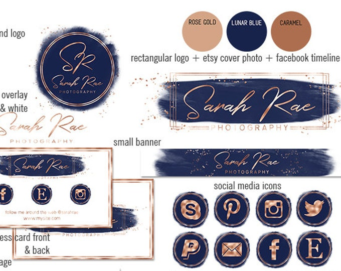 NAVY BLUE & Rose Gold Modern Branding Kit Watercolor Brush Strokes Etsy Shop Set Cover Photo Banner Logo Business Card Social Media Icons