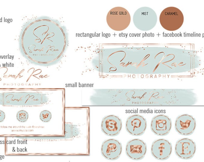 MIST GRAY & Rose Gold Chic Branding Kit Modern Watercolor Paint Stroke Etsy Shop Set Cover Photo Banner Logo Business Card Social Media Icon