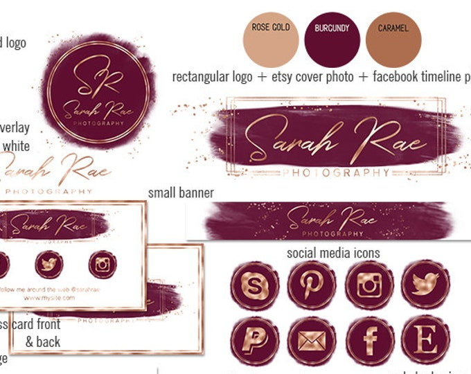 BURGUNDY & ROSE GOLD Modern Branding Kit Watercolor Brush Strokes Etsy Shop Set Cover Photo Banner Logo Business Card Social Media Icons
