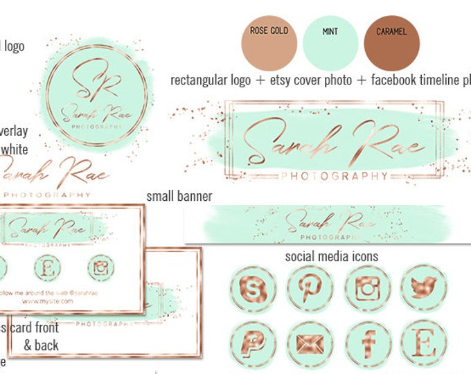 MINT GREEN & Rose Gold Girl Boss Branding Kit Watercolor Paint Strokes Etsy Shop Set Cover Photo Banner Logo Business Card Social Media Icon