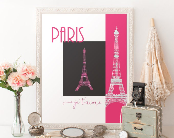 PINK PARIS Eiffel Tower Digital Print Hot Pink Eiffel Tower Digital Art Print Paris Je T'Aime Print French Wall Art Diy Printable Room Decor