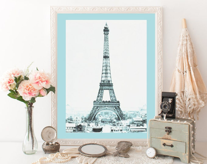 VINTAGE EIFFEL TOWER Photography Digital art Print Baby Blue Tinted Photograph Paris Digital art Print Eiffel Tower Poster French Printable
