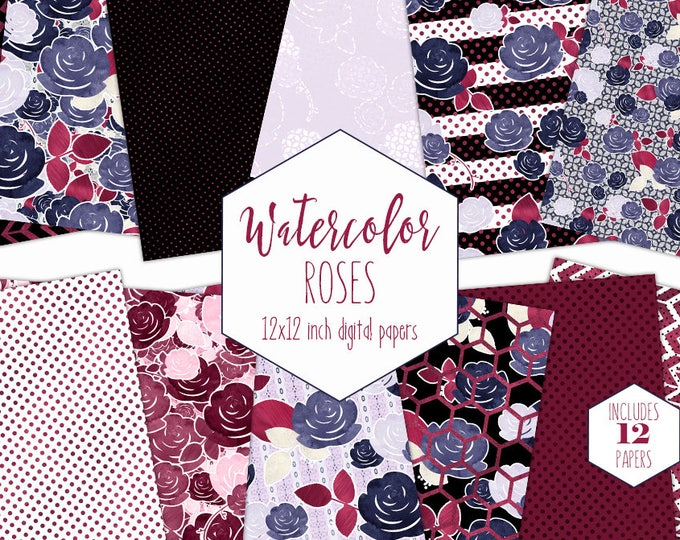 NAVY & BURGUNDY FLORAL Digital Paper Pack Commercial Use Watercolor Rose Backgrounds Black Stripes Scrapbook Paper Polka Dot Flower Patterns