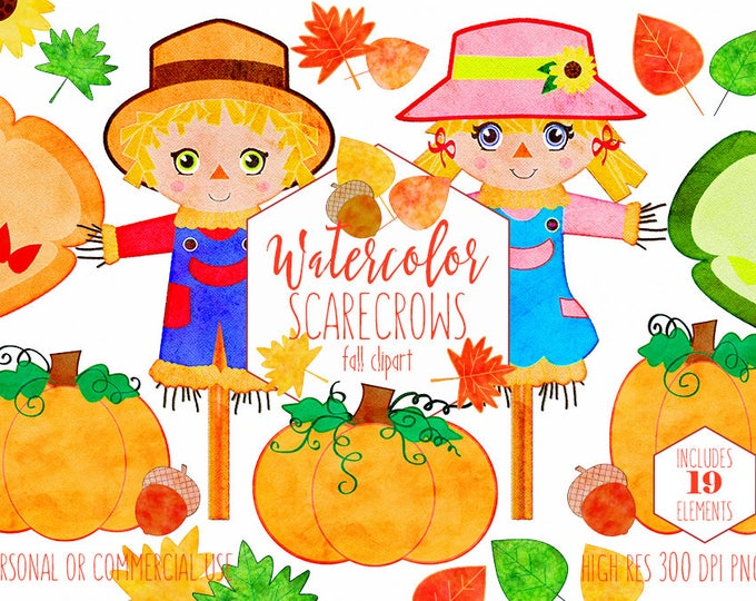 AUTUMN SCARECROW CLIPART Commercial Use Clip Art Watercolor Scare Crows Pumpkins Sunflowers Acorns Trees & Fall Leaves Cute Digital Graphics