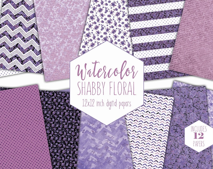 PURPLE WATERCOLOR FLORAL Digital Paper Pack Commercial Use Stripe Backgrounds Shabby Chic Scrapbook Papers Polka Dot Chevron Flower Patterns
