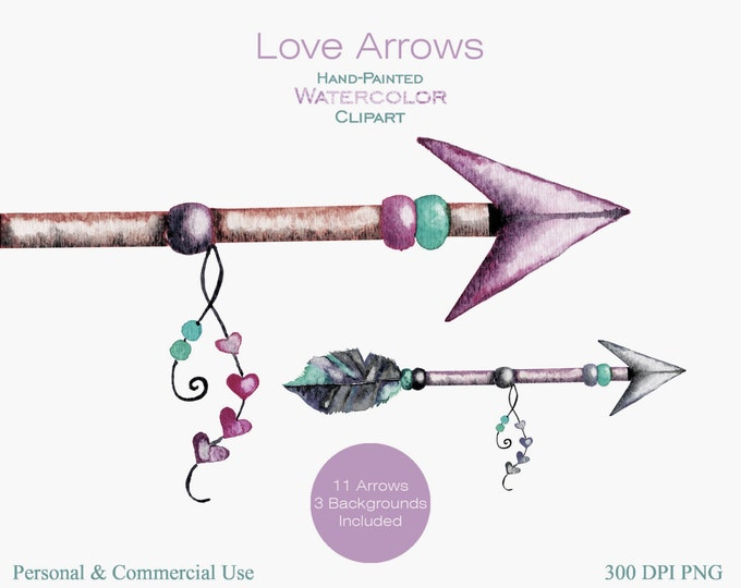 WATERCOLOR ARROWS Clipart Commercial Use Clipart 11 Arrow Graphics & 3 Watercolor Backgrounds Blush Pink Mint Arrow Tribal Clip art Arrows