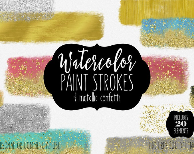 WATERCOLOR & GOLD PAINT Strokes Clipart Commercial Use Clip Art 19 Watercolor Brush Stroke Headers Glitter Confetti Textures Logo Graphics