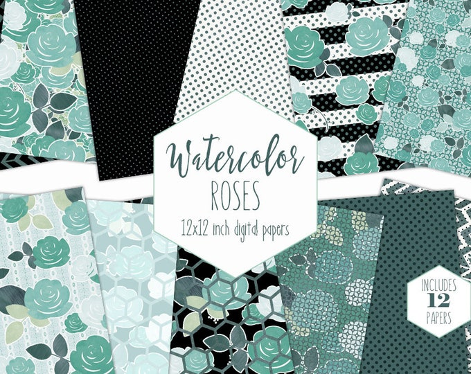 TEAL WATERCOLOR FLORAL Digital Paper Pack Commercial Use Mint Rose Backgrounds Black & White Striped Scrapbook Papers Modern Flower Patterns