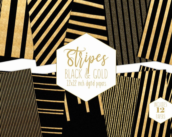BLACK & GOLD STRIPES Digital Paper Pack Gold Metallic Backgrounds Gold Foil Scrapbook Papers Wedding Patterns Party Printable Commercial Use