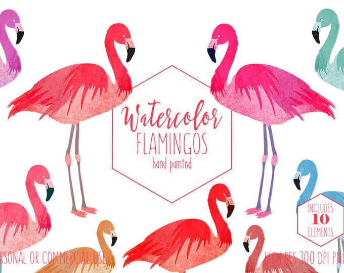 WATERCOLOR FLAMINGOS Clipart Commercial Use Clip Art Pink Flamingo Graphics Tropical Coral Flamingo Clipart Flamingo Digital Planner Sticker