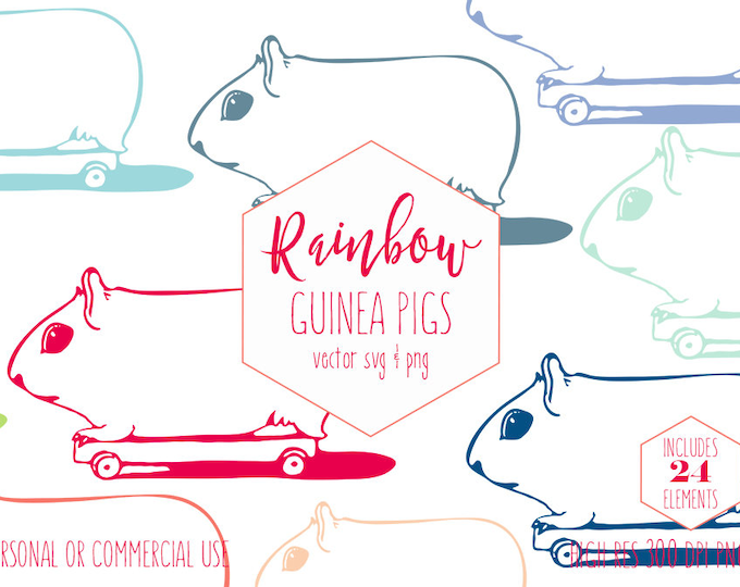 SKATEBOARD GUINEA PIG Clipart for Commercial Use Clip Art for Kids Pet Hamster Cute Skater Pet Rainbow Color Fun Vector Digital Graphics Svg