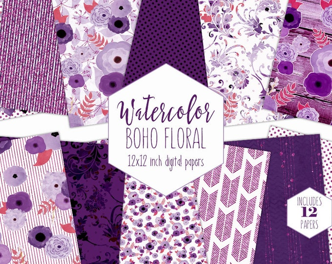 BOHEMIAN WATERCOLOR FLORAL Digital Paper Pack Dark Purple Metallic Commercial Use backgrounds Chic Wood Arrow Wedding Scrapbook Patterns