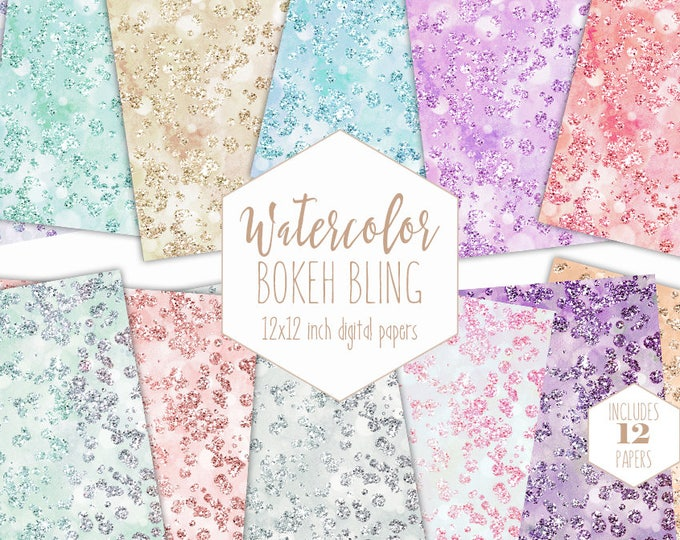 GEMSTONES BLING Digital Paper Pack Commercial Use Backgrounds Watercolor Bokeh Scrapbook Papers Diamond Gems Wedding Watercolour Textures