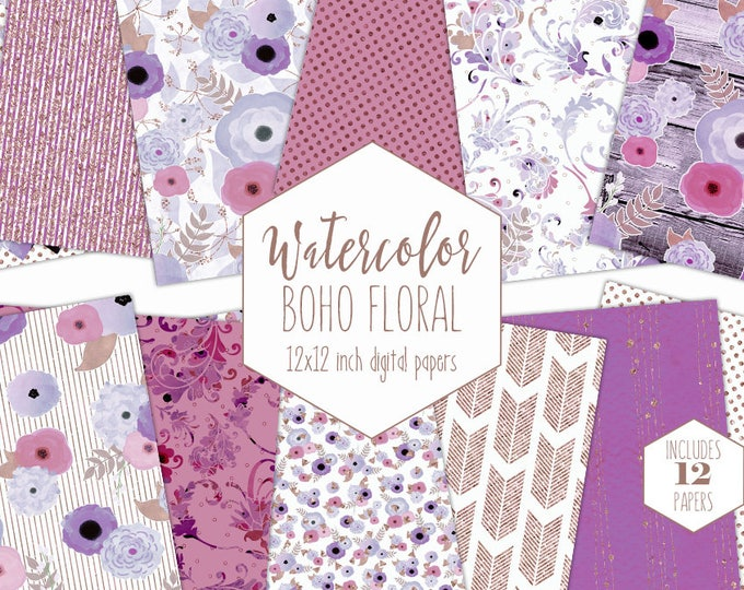 ROSE GOLD WATERCOLOR Floral Digital Paper Pack Purple Blush Pink Commercial Use Backgrounds Wood Scrapbook Paper Boho Chic Wedding Patterns