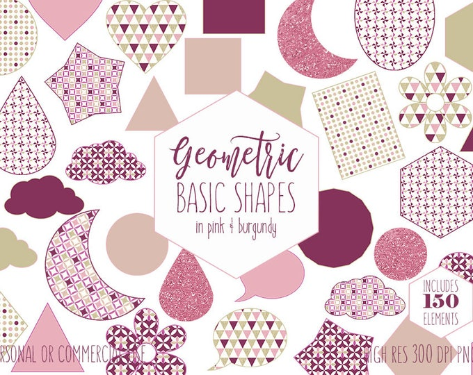 CUTE GEOMETRIC SHAPES Clipart for Commercial Use Planner Sticker Clip Art Pink & Burgundy Circles Triangles Hexagons Hearts Digital Graphics