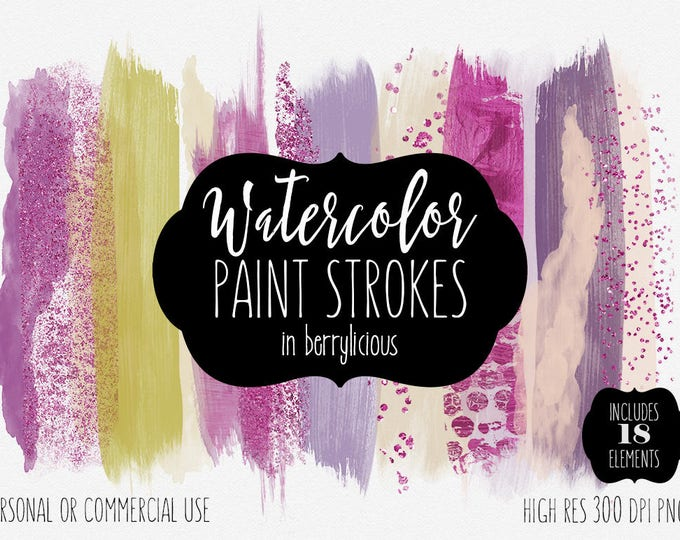 PURPLE WATERCOLOR BRUSH Strokes Clipart Commercial Use Clip Art Watercolor Paint Strokes Swatches Hot Pink Metallic Confetti Logo Graphics