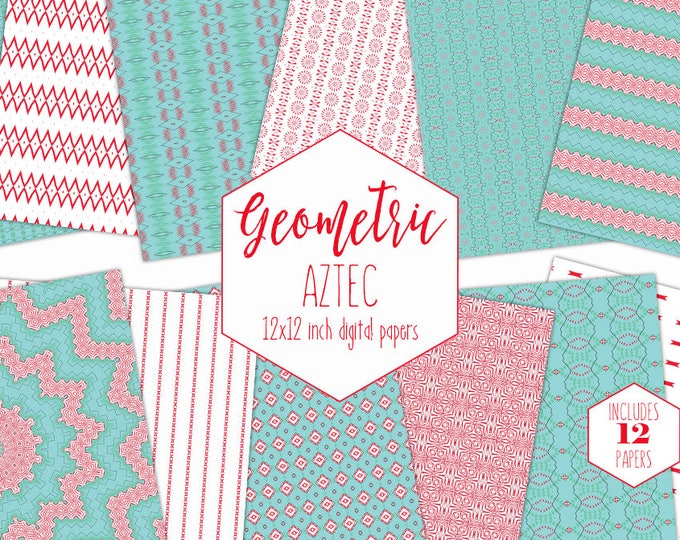 TEAL & RED Digital Paper Pack Aztec Tribal Backgrounds Turquoise Southwest Scrapbook Papers Aqua Stripe Printable Patterns Commercial Use