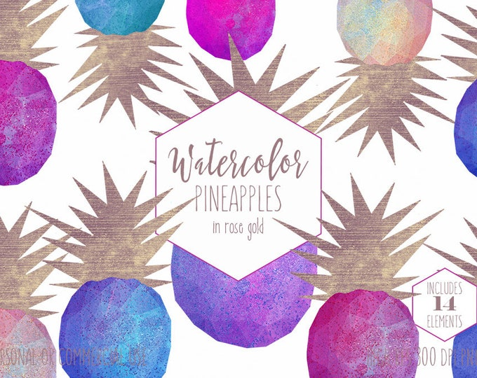 WATERCOLOR PINEAPPLES Clipart Commercial Use Clip Art 14 Geometric Pineapple Graphics Dipped with Rose Gold Foil Confetti Tropical Clipart