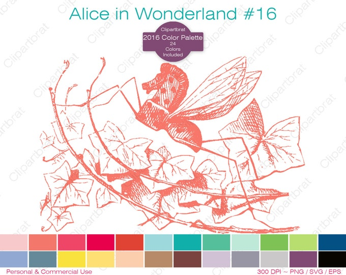 ALICE IN WONDERLAND Clipart Commercial Use Clipart Rocking Horse Fly Graphic 2016 24 Color Palette John Tenniel Sticker Vector Png Eps Svg