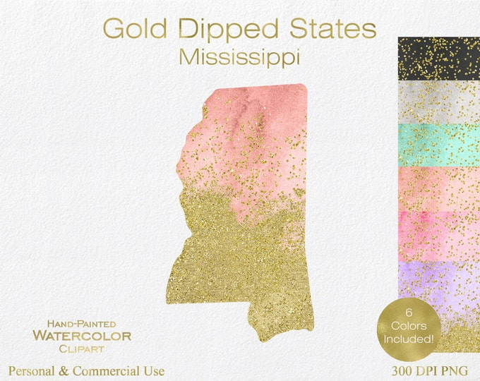 WATERCOLOR & GOLD MISSISSIPPI Clipart Commercial Use Clipart United States Shape Wedding Clipart Gold Confetti Dust Mississippi Clip Art