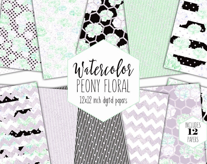 MINT PEONY FLORAL Digital Paper Pack Commercial Use Watercolor Backgrounds Blush Peonies Scrapbook Paper Black Striped Chic Flower Patterns