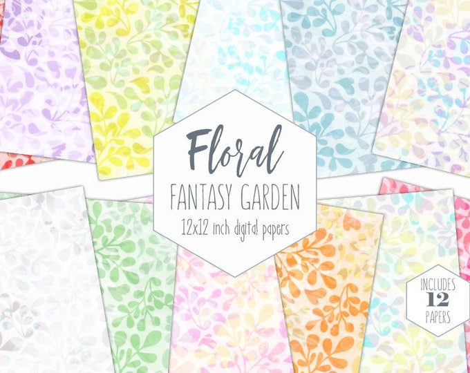 CHIC FLORAL BRANCHES Digital Paper Pack Pastel Backgrounds Wedding Scrapbook Paper Vine Leaf Patterns Rainbow Party Printable Commercial Use