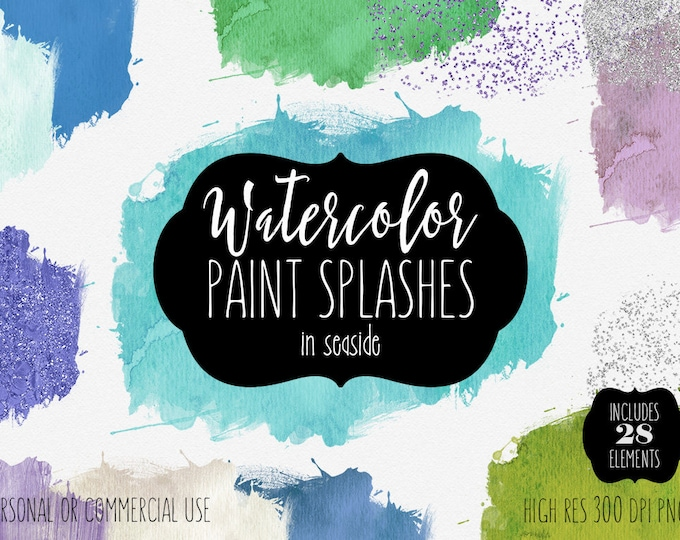 OCEAN BLUE WATERCOLOR Paint Splatters Clipart Commercial Use Clip Art 28 Watercolor Brush Strokes Metallic Confetti Textures Logo Graphics