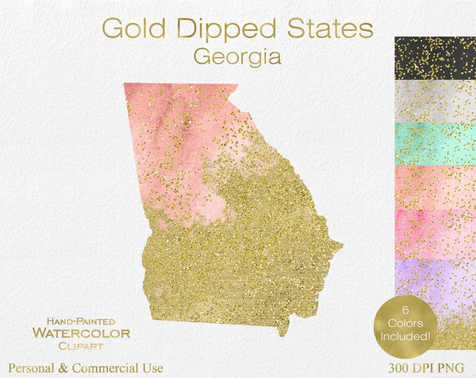 WATERCOLOR & GOLD GEORGIA Clipart Commercial Use Clipart United States Shape Wedding Clipart Gold Confetti Dust Georgia State Clip Art