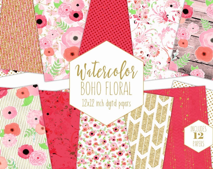 BOHO WATERCOLOR FLORAL Digital Paper Pack Blush Pink Coral Peach Gold Metallic Commercial Use Backgrounds Wood Scrapbook Wedding Patterns