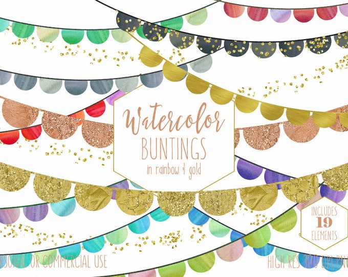 RAINBOW BUNTING BANNER Clipart Commercial Use Clip Art Watercolor Buntings & Metallic Gold Glitter Confetti Fun Cute Birthday Party Graphics