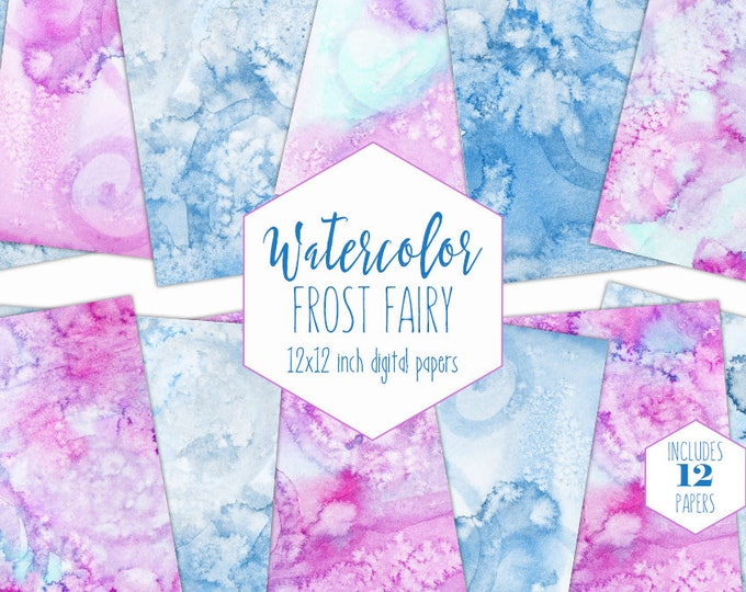 BLUE & PINK WATERCOLOR Digital Paper Pack Commercial Use Cute Backgrounds Birthday Clipart Swirl Scrapbook Papers Real Watercolour Textures