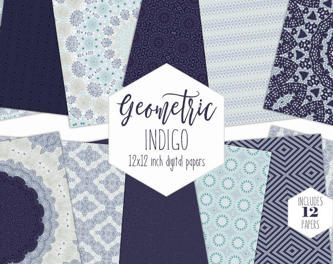 INDIGO BLUE  Digital Paper Pack Bohemian Mandala Backgrounds Dark Navy Blue Scrapbook Papers Boho India Ink Patterns Commercial Use Clipart