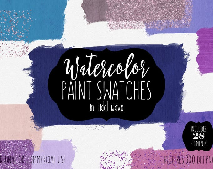 WATERCOLOR BRUSH STROKES Clipart Commercial Use Clip Art 28 Watercolor Paint Swatches Navy Blue Teal & Pink Confetti Textures Logo Graphics