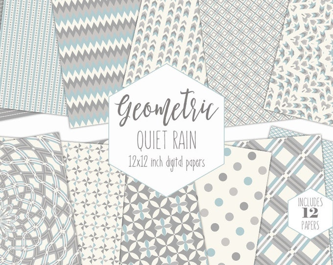 SOFT GRAY Digital Paper Pack Pastel Blue Backgrounds Mandala Scrapbook Paper Geometric Plaid Patterns Party Printable Commercial Use Clipart
