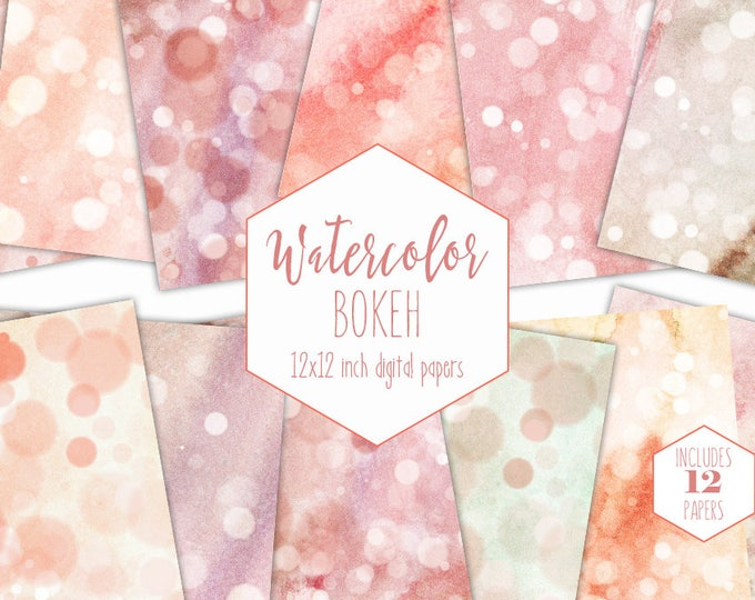 PEACH WATERCOLOR BOKEH Digital Paper Pack Commercial Use Backgrounds Scrapbook Papers Blush Pink Mint Dots Hand Painted Watercolour Textures
