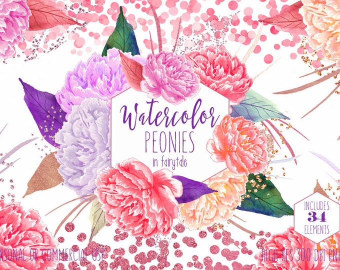 WATERCOLOR PEONIES Clipart Commercial Use Clip Art 34 Watercolour Floral Peony Pink & Rose Gold Confetti Flowers Wedding Invitation Graphics