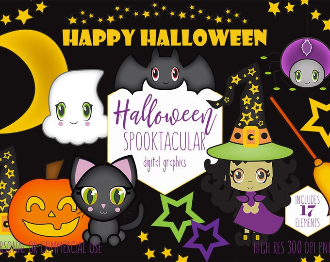 SPOOKTACULAR HALLOWEEN Clipart Cute Witch Ghost Black Cat Moon Stars & Bat Planner Sticker Clip Art for Kids Digital Graphics Commercial Use