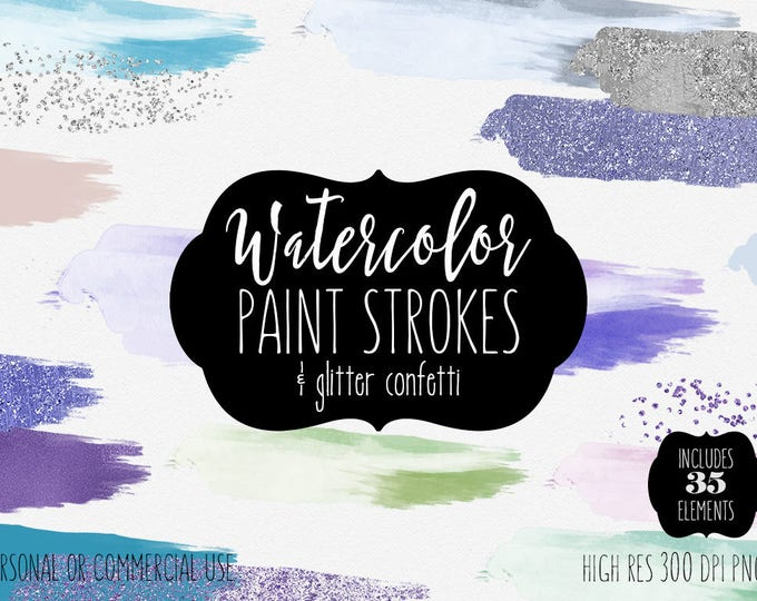 BLUE WATERCOLOR & CONFETTI Paint Brush Strokes Clipart Commercial Use Clip Art 35 Watercolor Headers Teal Textures Logo Design Clip Art