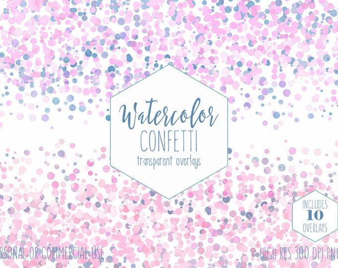 WATERCOLOR CONFETTI BORDER Clipart Commercial Use Clip Art Confetti Transparent Overlays Blush Pink Blue Party Wedding Invitation Graphics