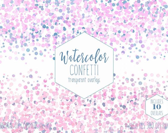 WATERCOLOR CONFETTI BORDER Clipart Commercial Use Clip Art Confetti Transparent Overlays Blush Pink Blue Party Wedding Invitation Graphics
