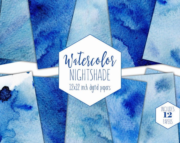 INDIGO BLUE WATERCOLOR Digital Paper Pack Commercial Use Backgrounds Dark Royal Blue Watercolor Textures Scrapbook Papers Watercolour Wash
