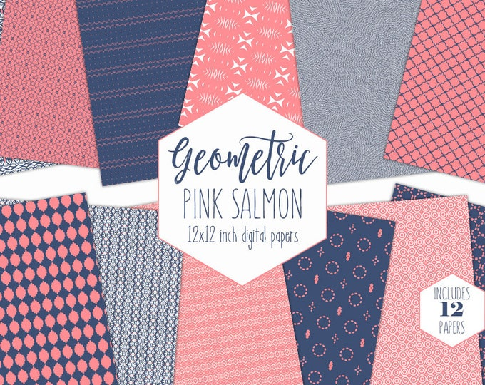 SALMON PINK & NAVY Digital Paper Pack Geometric Backgrounds Blue Scrapbook Papers Circle Patterns Girls Party Printable Nautical Clipart