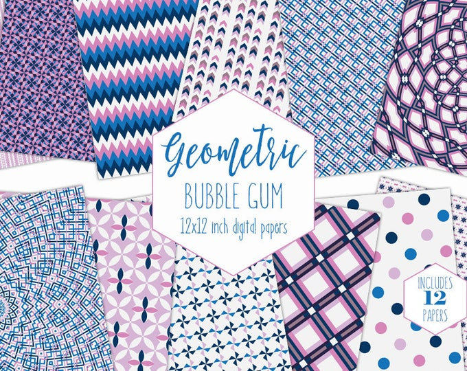 PINK & NAVY BLUE Digital Paper Pack Geometric Backgrounds Girl Scrapbook Papers Dot Mandala Patterns Birthday Party Printable Commercial Use
