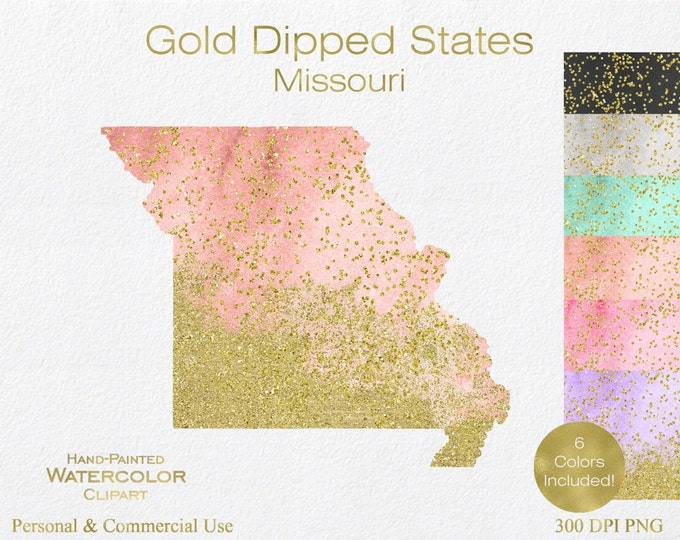 WATERCOLOR & GOLD MISSOURI Clipart Commercial Use Clipart United States Shape Wedding Clipart Gold Confetti Dust Missouri Clip Art Graphics
