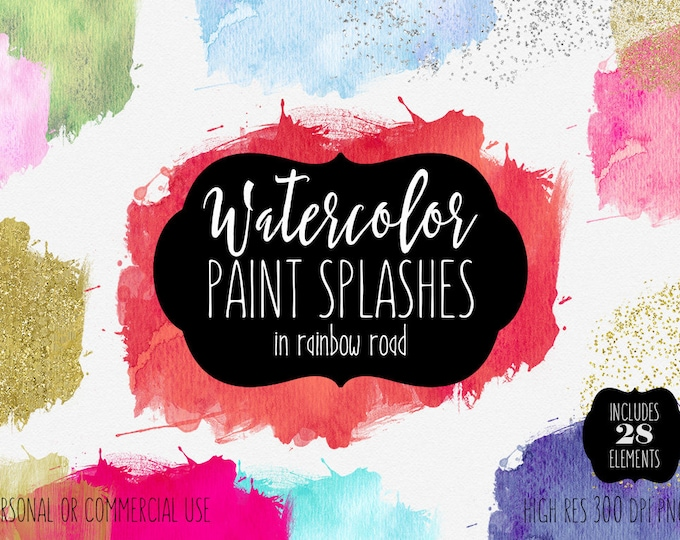 WATERCOLOR BRUSH STROKES Clipart Commercial Use Clip Art 28 Watercolor Paint Splashes Silver & Rose Gold Confetti Textures Logo Graphics