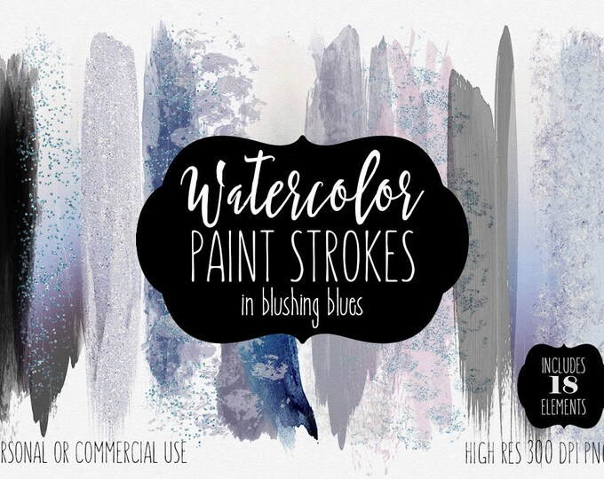 WATERCOLOR BRUSH STROKES Clipart Commercial Use Clip Art 18 Watercolor Brush Paint Stroke Blush Indigo Blue Confetti Watercolor Logo Texture