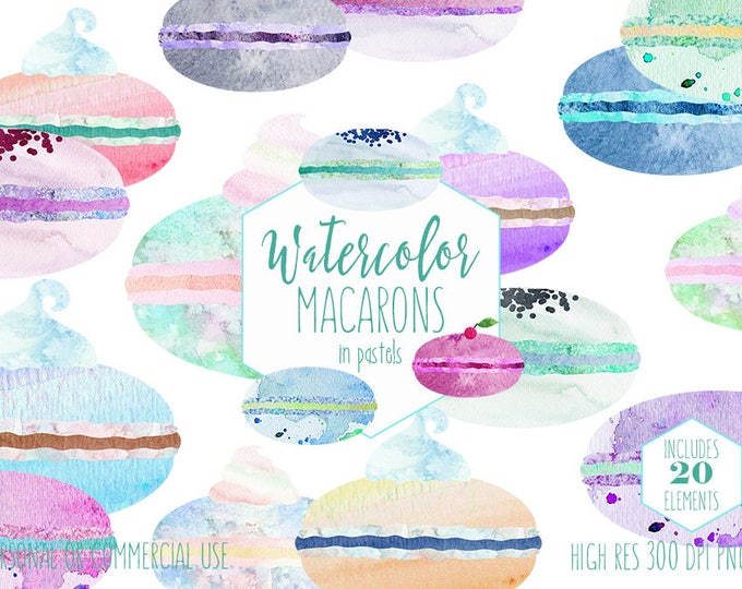 FRENCH MACARONS Clipart Commercial Use Clip Art Cute Watercolor Cookies Pastel Pink Blue Macaroon French Pastry Party Food Dessert Graphics