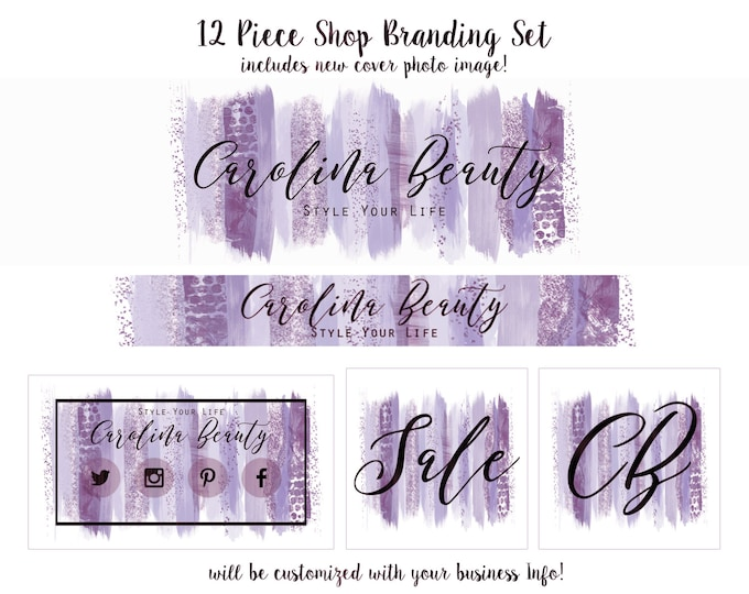 Purple WATERCOLOR BRUSH STROKES Etsy Shop Set- Choose Your Font- Cover Photo Banner Logo Business Card Purple & Blue Feminine Paint Strokes